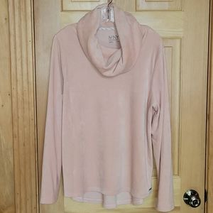 Marc NY luxury velour cowlneck high/low pullover